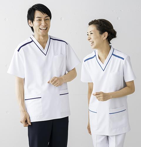 HS8013 オンワード(ラフィーリア)接触冷感生地 スクラブ 男女兼用(全5色)