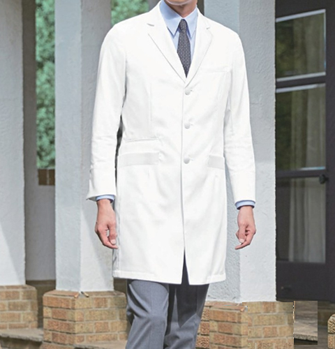 KZN210 カゼン 診察衣 シングルボタン 綿100% 男性用 長袖 タブレットポケット 吸汗性 形態安定加工 KAZEN 医療用 医者 医師 ドクター メンズ ドクターコート ジャケット 白衣 ホワイト