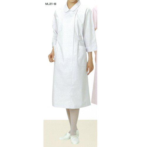 <お買い得>ML221看護衣ステンカラー横掛けファスナー型ラグラン袖(七分袖)