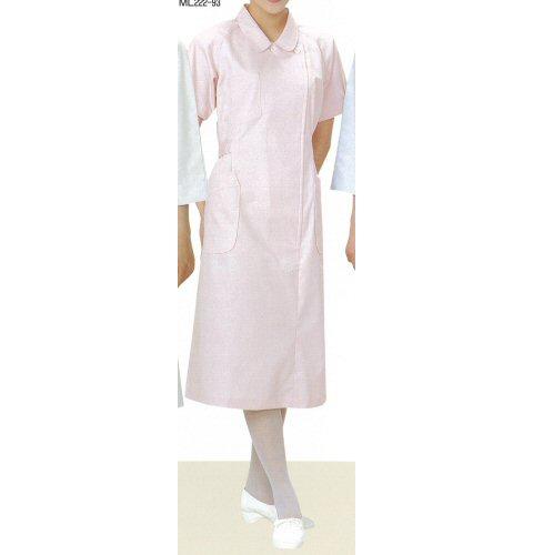 <お買い得>ML222看護衣ステンカラー横掛けファスナー型ラグラン袖(半袖)