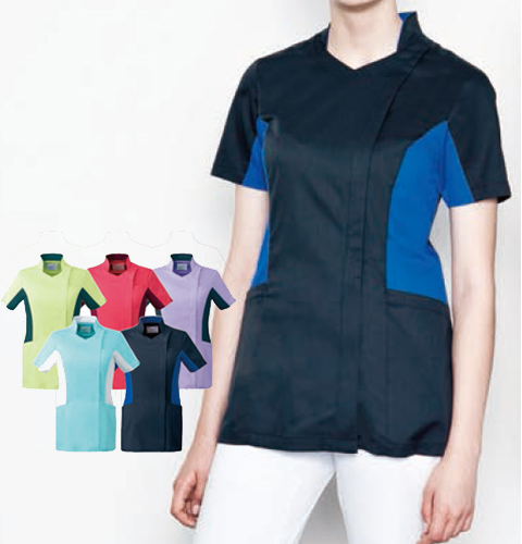 MZ-0128 チトセ ミズノ ナースウェア ジャケット 女性用 半袖 スタンドカラー 吸汗速乾 ストレッチ 涼しい CHITOSE MIZUNO 医療用 看護師 歯科衛生士 レディース レディス 女子 上衣 チュニック