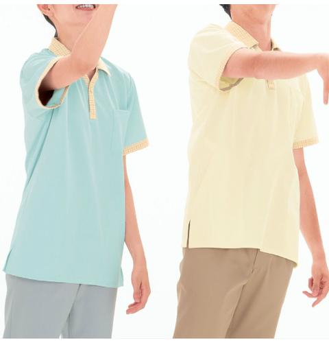 NX2902 ナガイレーベン(Naway)ヘルスヘルパー 衿、前立て、袖口に格子柄のアクセント 男女兼用ニットシャツ