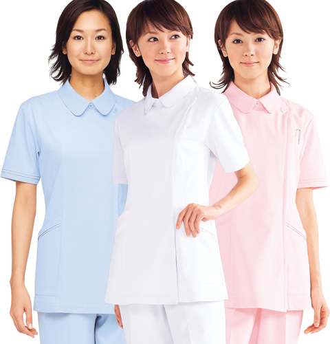 WH10601 自重堂 ホワイセル ナースウェア ジャケット 女性用 半袖 制菌加工 工業洗濯可 透け防止 帯電防止 WHIseL JICHODO 医療用 看護師 レディース レディス 女子 上衣 チュニック 白衣 医務衣 ホワイト 白 ピンク ブルー