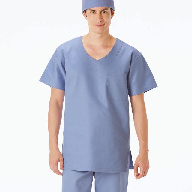 AD316 ナガイレーベン 手術着 スクラブ 男性用 半袖 綿100 制電 吸水 NAGAILEBEN 医療用 ドクター 医師 医者 オペ着 手術衣 ジャケット 上衣 メンズ 男子 白衣 ブルー グリーン