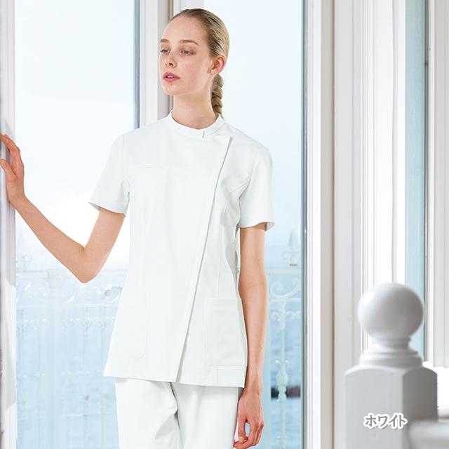 ATA1852 ナガイレーベン アツロウタヤマ 女性用 ナース 上衣[白衣 レディース ジャケット チュニック ホワイト]