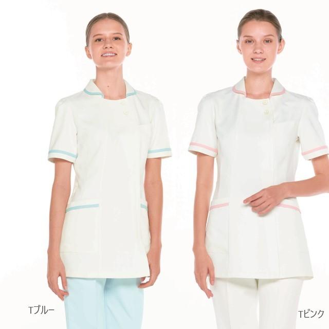 CF4832 ナガイレーベン ナースウェア ジャケット 女性用 半袖 ウエストループ ポリエステル100 制菌加工 制電 吸水 防汚 透け防止 NAGAILEBEN 医療用 看護師 歯科衛生士 レディース レディス 上衣