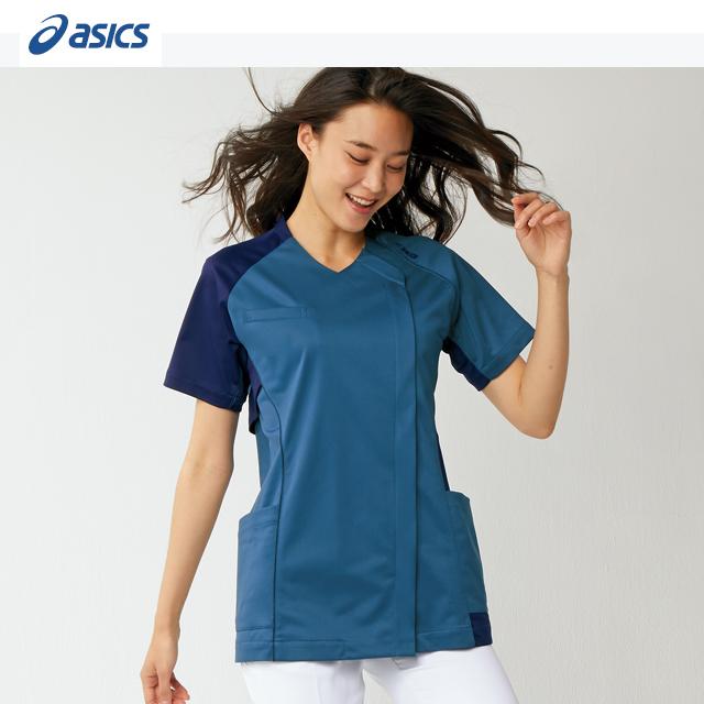 CHM355 アシックス (asics) 住商モンブラン製品 レディス スクラブ ジャケット 半袖 白衣 ナースウェア 看護師 介護 女性用 病院 医院