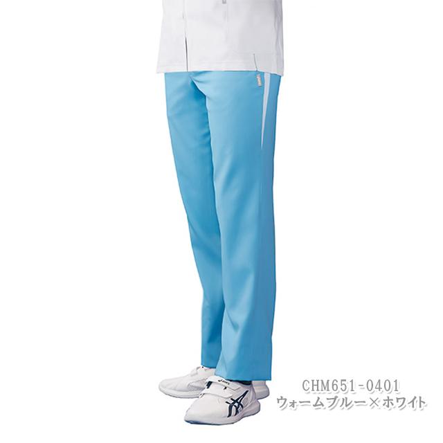 CHM651C アシックス (asics) 住商モンブラン製品 メンズ パンツ 白衣 ナースウェア 看護師 介護 男性用 病院 医院 ホワイト ブルー