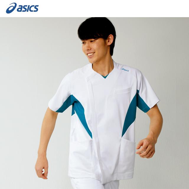 CHM857 アシックス (asics) 住商モンブラン製品 メンズ ジャケット スクラブ 半袖 白衣 ナースウェア 看護師 介護 男性用 病院 医院