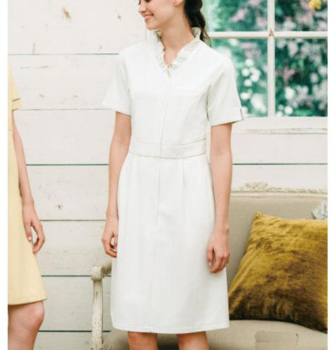 CL-0220 Calala(キャララ) 襟フリル ワンピース[エステ サロン スパ 白衣 女性 レディス 受付]