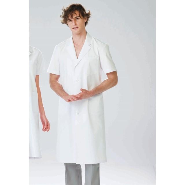 EP112 ナガイレーベン 診察衣 シングルボタン 男性用 半袖 吸水効果 ポケット付き 涼しい NAGAILEBEN 医療用 ドクター 医師 医者 メンズ 医務衣 ドクターコート メンズコート シングルコート 白衣 ホワイト