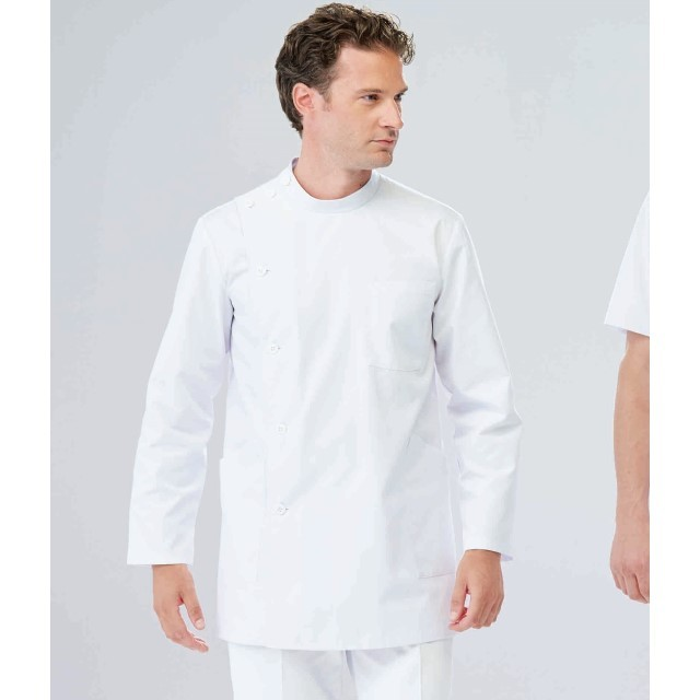 EP165 ナガイレーベン ナースウェア ケーシー ジャケット 長袖 男性用 吸水効果 ポケット付き NAGAILEBEN 医療用 看護師 薬剤師 メンズ 横掛 上衣 医務衣 白衣 ボタン留 ホワイト