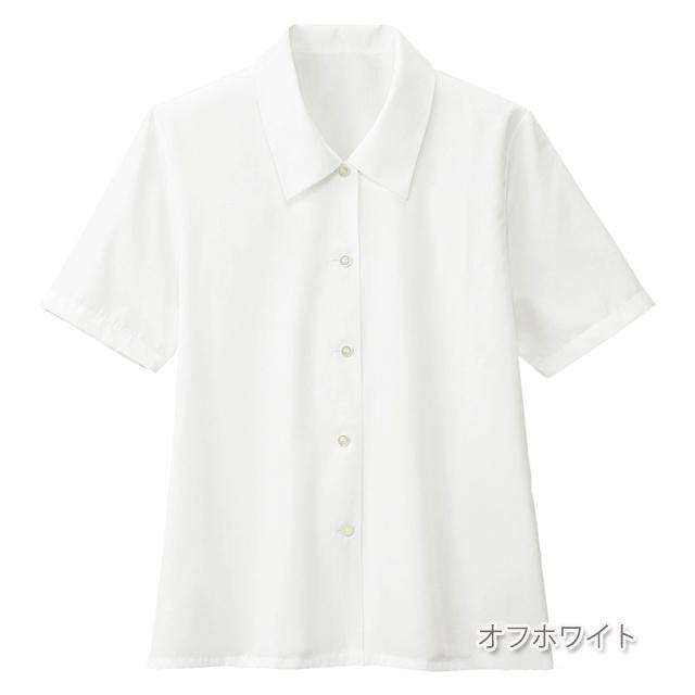 FB7006 フォーク オフィスウェア ブラウス 半袖 女性用 清楚 肩パッド取り外し可 上品 洗濯可 FOLK 事務服 通勤 制服 シャツ レディース レディス 小さいサイズ 大きいサイズ  ホワイト