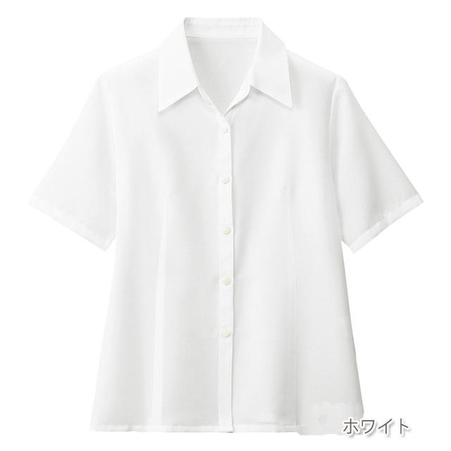 FB7070 フォーク オフィスウェア ブラウス 半袖 女性用 清楚 上品 サラサラ生地 洗濯機可 FOLK 事務服 通勤 制服 シャツ レディース レディス 小さいサイズ 大きいサイズ  ホワイト