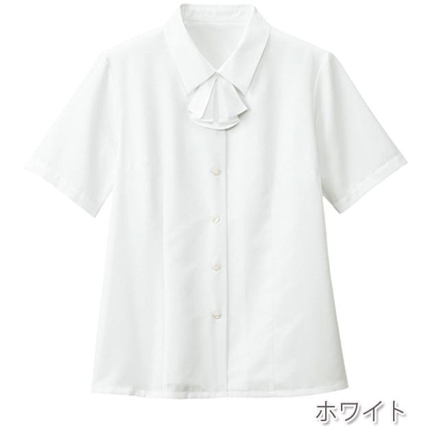FB7086 フォーク オフィスウェア ブラウス リボン付き 半袖 女性用 フェミニン 清楚 洗濯可 透けにくい FOLK 事務服 通勤ウェア 制服 ユニフォーム レディース レディス シャツ ホワイト 白 ピンク 大きいサイズ