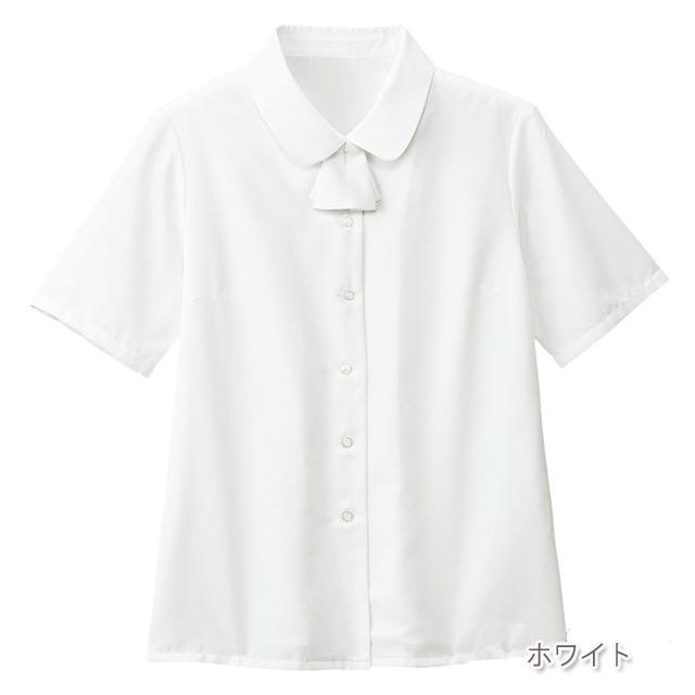 FB7091 フォーク オフィスウェア ブラウス リボン付き 半袖 女性用 家庭洗濯 透け防止 ホームクリーニング FOLK 事務服 通勤ウェア 制服 ユニフォーム レディース レディス シャツ ホワイト 白 大きいサイズ