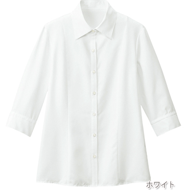 FB7097 フォーク オフィスウェア ブラウス 七分袖 女性用 清楚 透け防止 ホームクリーニング 洗濯可 FOLK 事務服 通勤 制服 シャツ レディース レディス 小さいサイズ 大きいサイズ
