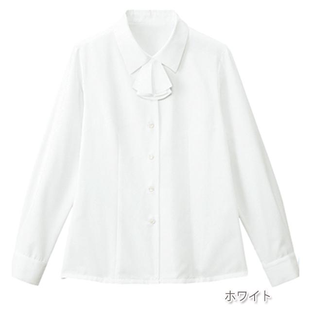 FB7546 フォーク オフィスウェア ブラウス リボン付き 長袖 女性用 ホームクリーニング 家庭洗濯 透け防止 FOLK 事務服 通勤 制服 レディース レディス シャツ 小さいサイズ 大きいサイズ  ホワイト 白