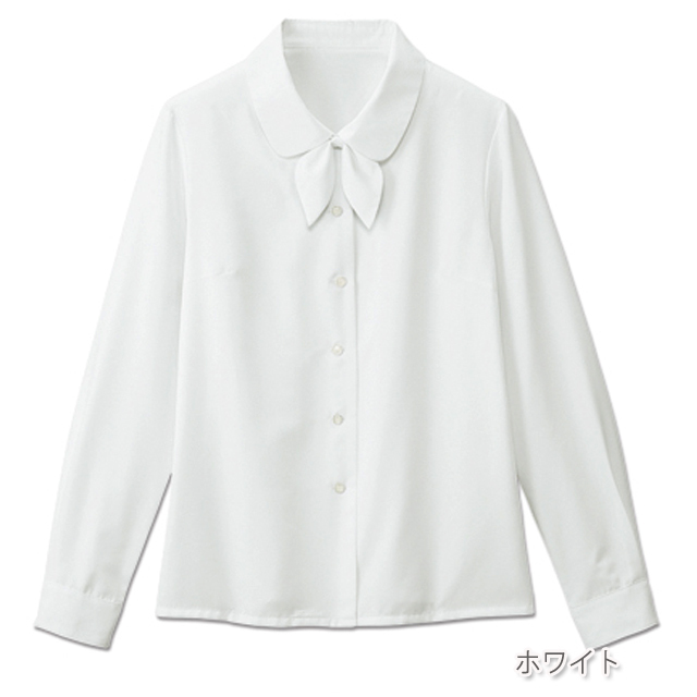 FB7547 フォーク オフィスウェア ブラウス リボン付き 長袖 女性用 ホームクリーニング 家庭洗濯 透け防止 FOLK 事務服 通勤 制服 レディース レディス シャツ 小さいサイズ 大きいサイズ  ホワイト 白