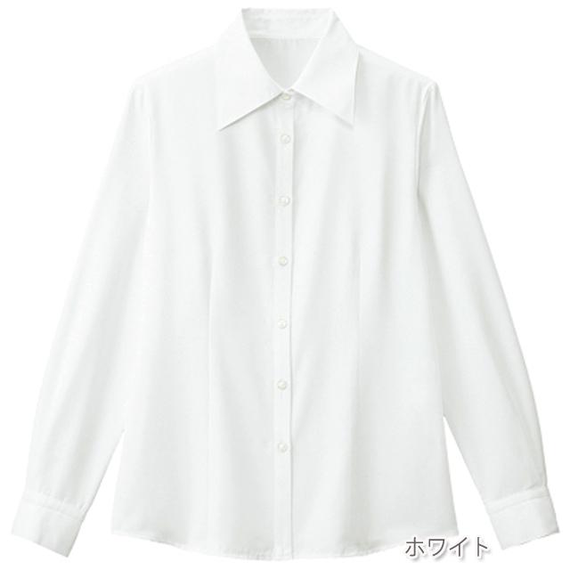 FB7548 フォーク オフィスウェア ブラウス 長袖 女性用 ホームクリーニング 家庭洗濯 透け防止 FOLK 事務服 通勤 制服 レディース レディス シャツ 小さいサイズ 大きいサイズ  ホワイト 白 ブルー 水色