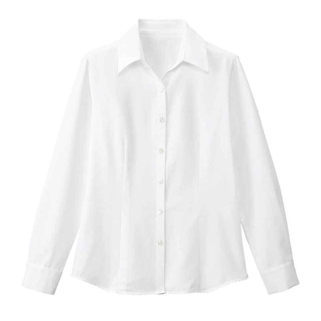 FB75531 フォーク オフィスウェア ブラウス 長袖 女性用 透け防止 ホームクリーニング 家庭洗濯 FOLK 事務服 通勤 制服 レディース レディス シャツ 小さいサイズ 大きいサイズ  ホワイト