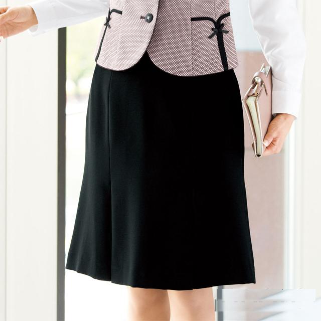 FS4569 フォーク オフィスウェア マーメイドプリーツスカート 女性用 ウエスト楽  滑り止めテープ ホームクリーニング 洗濯可 FOLK ワークスタイル スーツ OL 会社 通勤 受付 レディース レディス ブラック