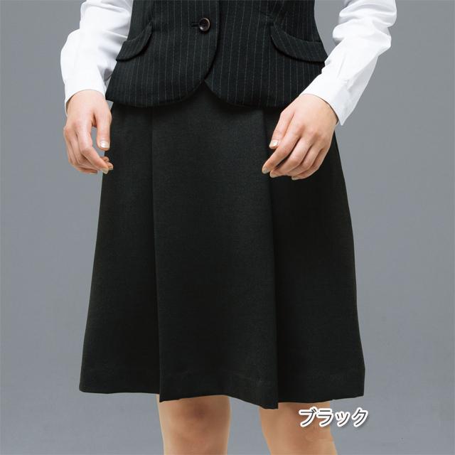FS45728 フォーク オフィスウェア ソフトプリーツスカート 女性用 ウエスト楽  滑り止めテープ ホームクリーニング 洗濯可 FOLK ワークスタイル スーツ OL 会社 通勤 受付 レディース レディス ブラック