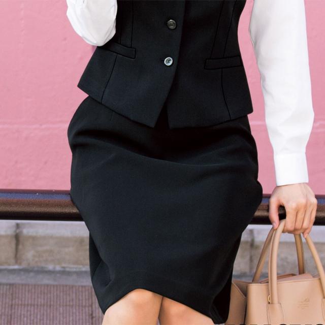 FS45801 フォーク オフィスウェア ウエストゴム Aライン スカート 女性用 ウエスト楽  ポケット付き ストレッチ ホームクリーニング 洗濯可 FOLK ワークスタイル スーツ OL 会社 通勤 受付 レディース