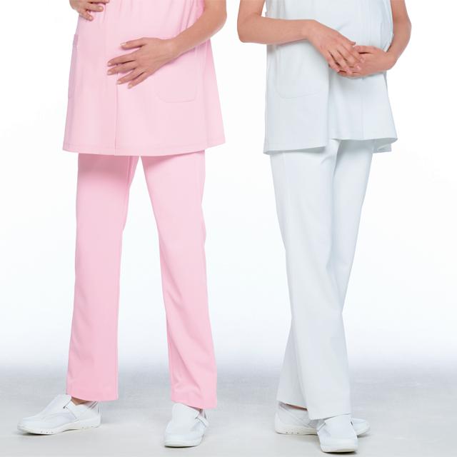 HOS4993 ナガイレーベンマタニティパンツ[白衣医療用看護師ナース女性用マタニティパンツズボンホワイトピンク]
