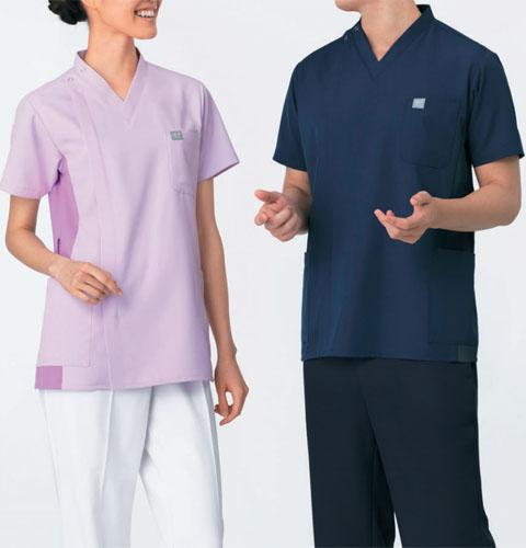 HS8038/HS8039/HS8040 オンワード(ラフィーリア) サイドファスナースクラブ 男女兼用 [医療用白衣 ナース 看護師 ドクター 医師 ネイビー ラベンダー ローズ]