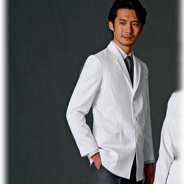 JK192 JUNKO KOSHINO ジュンココシノ JUNKO Uni メンズ ドクターコート(ショート) 住商モンブラン 男子 診察衣 長袖 シングルボタンタイプ [送料無料]