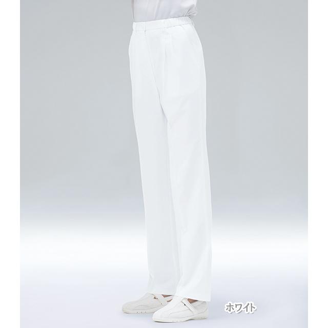 KES1173 ナガイレーベン ナースウェア パンツ 女性用 ゆったりストレート ツータック 後ろゴム 前ファスナー センタープレス ポケット NAGAILEBEN 医療用 看護師 歯科衛生士 レディース レディス 女子