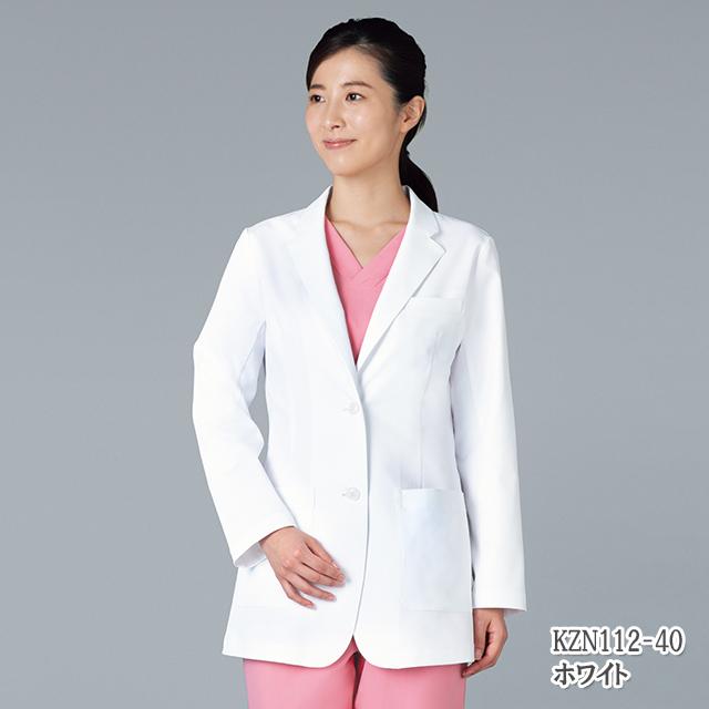 KZN112 KAZENカゼン レディス ブレザー 医療 白衣 長袖 医師 ドクター ジャケット ホワイト