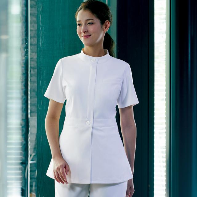 KZN310 カゼン ナースウェア レディス ジャケット 女性用 医療用 看護師 ナース 医師 ドクター ホワイト 白 ベージュ 紺 ネイビー 大きいサイズ 白衣 KAZEN