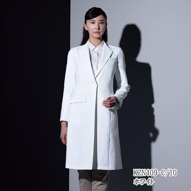 KZN409 KAZEN カゼン レディス 診察衣 医療 白衣 長袖 医師 女性用 ホワイト