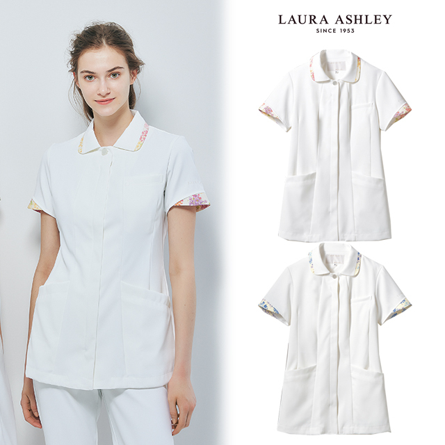 LW803 LAURA ASHLEY ローラ アシュレイ 住商モンブラン ナースウェア ナースジャケット レディス 医療用 女性用 看護師 ナース 花柄 白衣