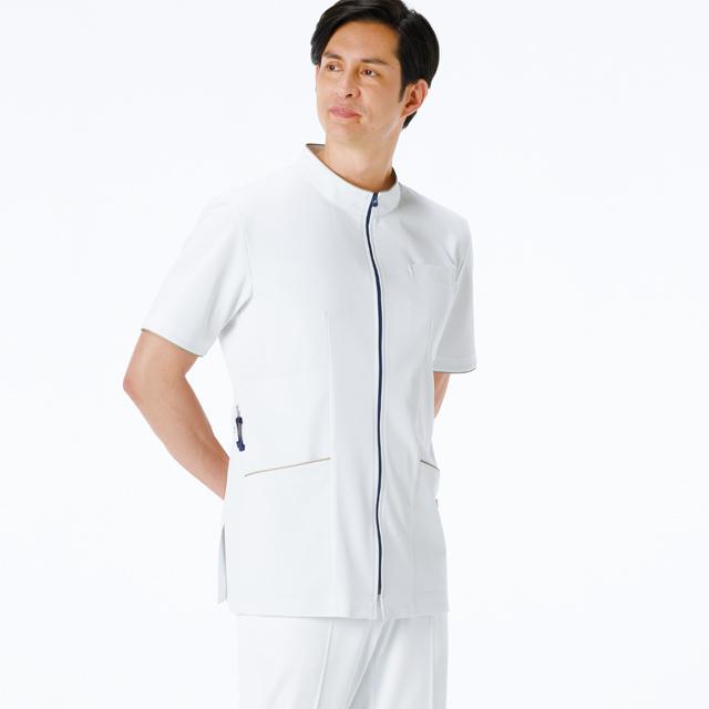 LX3737ナガイレーベン 男子上衣 半袖 [白衣 医療用 看護師 ナース 男性用 メンズ クリニック エステ 介護 ケア]