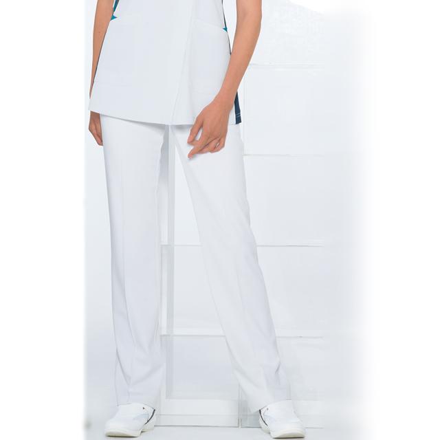 LX4003 ナガイレーベン ナースウェア パンツ 女性用 ストレート ノータック 脇ゴム 前ファスナー センタープレス ポケットあり 涼感素材 制菌加工 制電 吸水 防汚 透け防止 NAGAILEBEN 医療用 看護師