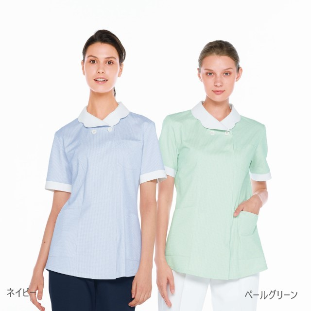 MK1622 ナガイレーベン ナースウェア ジャケット 女性用 半袖 ポケット 吸水 防汚 業務用洗濯可 形態安定素材 NAGAILEBEN 医療用 看護師 歯科衛生士 レディース レディス 女子 上衣 チュニック 医務衣