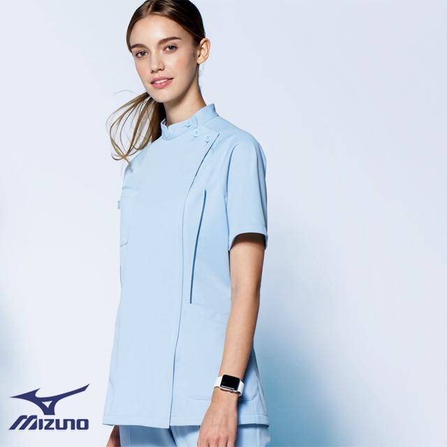 MZ-0048 ミズノ ドクターウェア ケーシー ジャケット レディス 身体の動きに追随する 動きやすいウェア 女性用 医療用 制菌 吸汗 速乾 透防止 制電 ホワイト ネイビー ブルー  大きいサイズ 白衣 医師 看護 ナース 4L 5L
