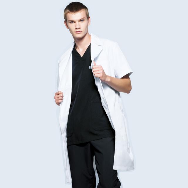 MZ0222 チトセ ミズノ 診察衣 シングルボタン 半袖 男性用 制菌 防汚 ポケット付き ペン差し付き 比翼仕立て MIZUNO CHITOSE 医療用 ドクター 医者 医師 メンズ 実験衣 白衣 ドクターコート 大きいサイズ 4L 5L ホワイト