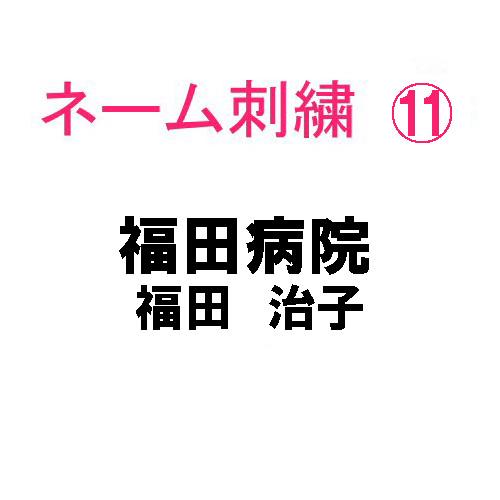 ネーム刺繍11(院名・店名・科名・職種&個人名フルネーム 日本語)