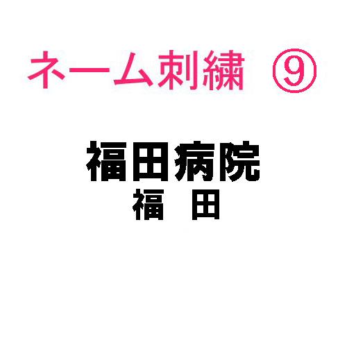 ネーム刺繍9(院名・店名・科名・職種&名字 日本語)