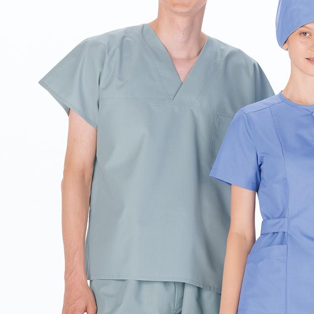 OR8202 ナガイレーベン ドクターウェア スクラブ 男性用 半袖 左胸ポケット 制電 吸水NAGAILEBEN 医療用 看護師 ドクター 医師 医者 メンズ 男子 ジャケット 上衣 医務衣 白衣 病院 クリニック オペ室