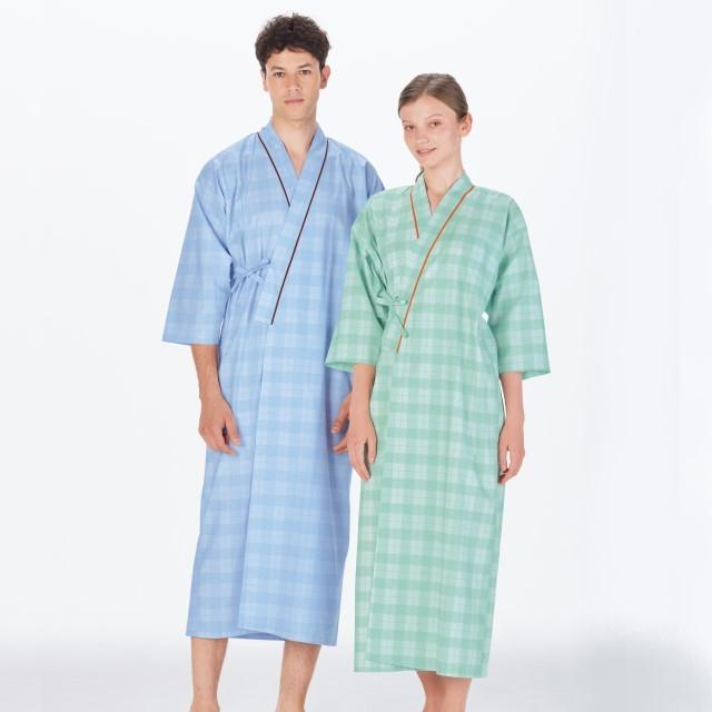 PG1400 ナガイレーベン 患者衣 ゆかた型 男女兼用 七分袖 吸汗 業務用洗濯可 形態安定 NAGAILEBEN 医療用 患者 入院 検診 検査 院内着 ユニセックス パジャマ 寝巻 浴衣型 ブルー