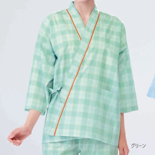 PG1411C ナガイレーベン 患者衣上衣 じんべい型 子供用 男女兼用 七分袖 吸汗 業務用洗濯可 形態安定 NAGAILEBEN 医療用 患者 入院 検診 検査 院内着 ユニセックス パジャマ 寝巻 甚平型 上衣 ブルー
