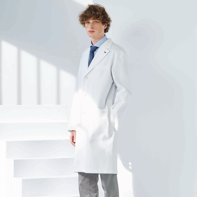 PP3300 ナガイレーベン 診察衣 シングルボタン 男性用 長袖 左胸ポケット 両腰ポケット 制菌加工 制電 吸水効果 NAGAILEBEN 医療用 医者 医師 ドクター メンズ ドクターコート 白衣 ホワイト 白