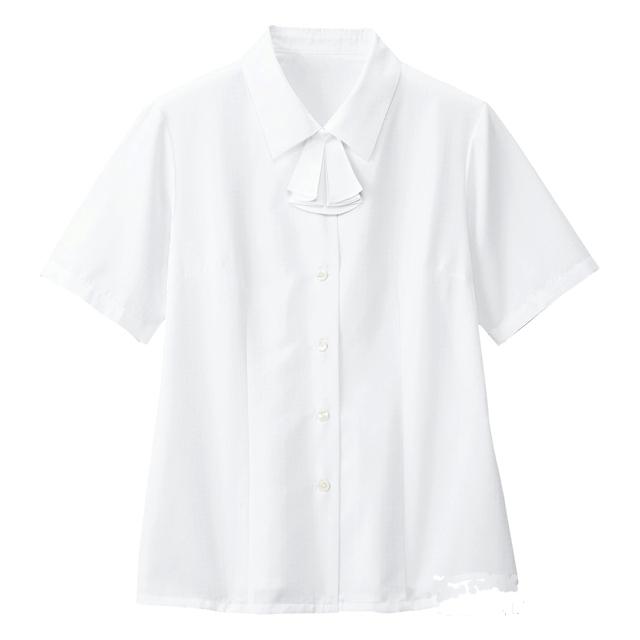 SB7003 フォーク オフィスウェア ブラウス リボン付き 女性用 半袖 家庭洗濯可 透け防止 透けない FOLK 医療用 事務服 制服 オフィスブラウス ワークウェア 受付 病院 クリニック レディース レディス 女子