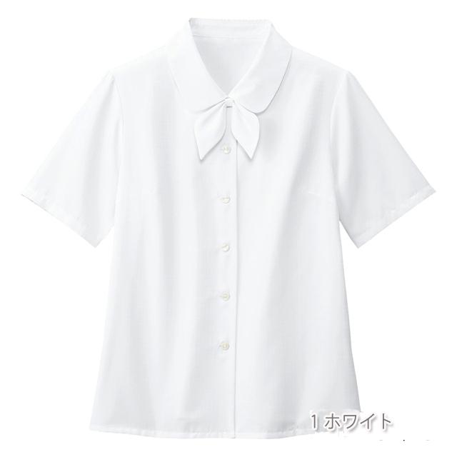 SB7004 フォーク オフィスウェア ブラウス リボン付き 女性用 半袖 家庭洗濯可 透け防止 透けない FOLK 医療用 事務服 制服 オフィスブラウス ワークウェア 受付 病院 クリニック レディース レディス 女子