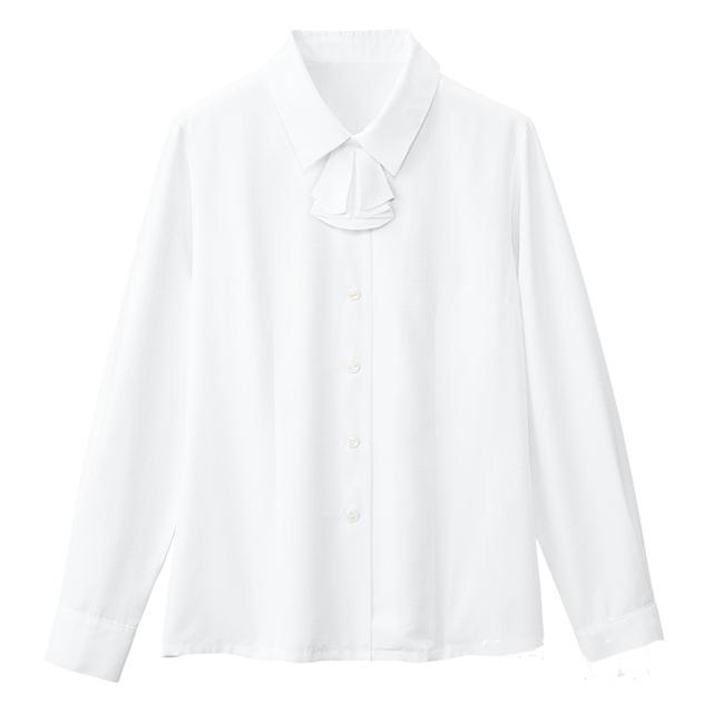 SB7503 フォーク オフィスウェア ブラウス リボン付き 女性用 長袖 ノーアイロン ノンアイロン 家庭洗濯可 透け防止 透けない FOLK 医療用 事務服 制服 オフィスブラウス ワークウェア 受付 病院 クリニック